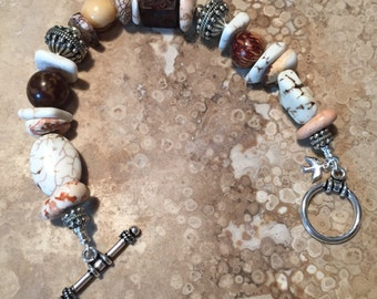 Beads, Seeds and Sterling Silver Bracelet