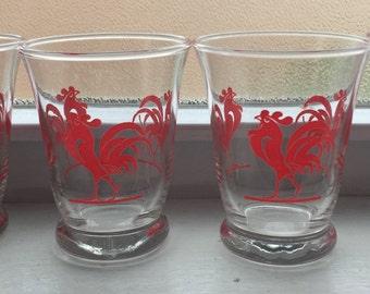 Vintage Rooster Juice Glasses - Set of 4