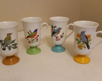 4 vintage japan 1960 era porcelain bird mugs - 2 sided footed pedestal irish coffee cups - fred roberts birds - antique audubon kitchen A