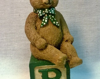 "Handpainted Teddy Bear on ""B"" Letter Block"