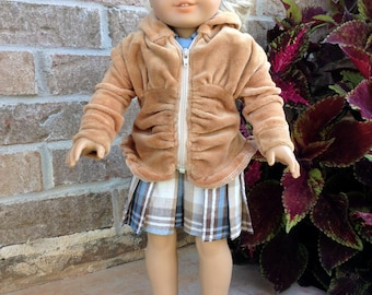 18 Inch Doll Trendy Ruched Hoodie, Pleated Plaid Skirt, and Blouse