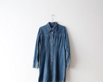 Vintage Denim Dress Long Sleeve Dress Mini Denim Dress Button Up Dress Jeans Dress Festival Dress Blue Summer Dress Medium Size Dress