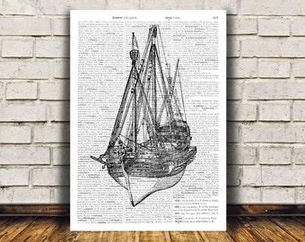 Modern decor Nautical art Dictionary print Ship poster RTA228
