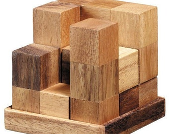 Wooden Toy : Soma Cube Puzzle Games (L) - The Organic Natural Puzzle Game Play for Baby and Kids
