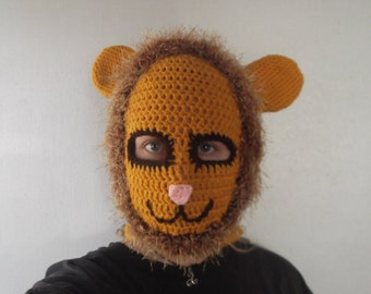 Crocheted Couragious Lion Ski Mask