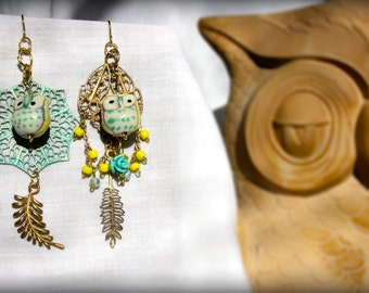 Mismatch Shabby-Boho Owl Earrings