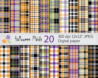 Halloween Plaids Digital Paper Set, Halloween Plaid Digital Papers, Black Orange Green Purple Digital Scrapbook Paper, Instant Download