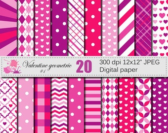 Valentines Day Geometric Purple Pink Digital Paper with Hearts, Polka Dots, Argyle, Stripes, Plaid Valentine papers, Download