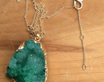 crystal quartz necklace, geode necklace