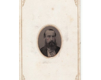 Vintage Tintype Photo, Carte De Visite, Visiting Card, Ferrotype Photograph of a Man by Philadelphia Studio