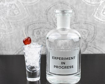 Experiment in Progress Etched Laboratory Reagent Bottle Glass Bottle - // Decanter // Science Gift // Home Decor // Barware //