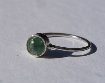 Adjustable silver ring and green tourmaline