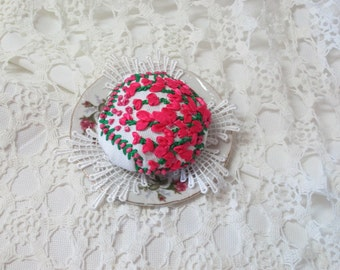 hand made and embroidered pin cushion