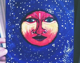 Hand Painted Moon and Sun Two Piece Painting Set