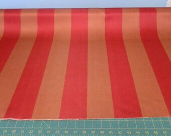 Upholstery Fabric, Red and Copper Stripes, Wide Stripe, interior decorating, drapery, Costume, Theater, Circus theme, by the yard, half yard