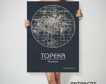 TOPEKA Kansas City Map Topeka Kansas Art Print Topeka Kansas poster Topeka Kansas map art United States Poster wall art ArchTravel