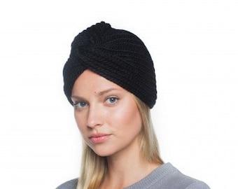 Bonnet Turban, bonnet tricoté pour femme, bonnet tricoté à la main, tricot Turban féminines, tête de Style années 50