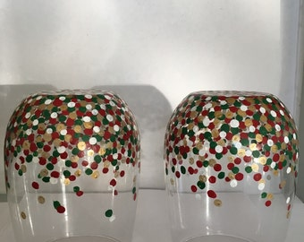 Set of 2 Christmas Confetti Wine Glasses with White