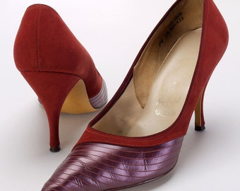Red Suede and Plum Petent Stiletto Wincklepickers Shoes c1960 Size 5