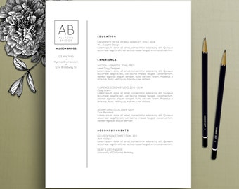 Modern Resume Template, Cover Letter Template, References Template, MS Word, Mac, PC, Professional Resume Template, Instant Download Allison