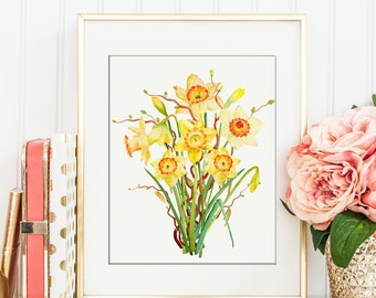 """No.57 hand painted watercolor spring flowers yellow daffodils printable, digital print for Instant Download, 8""""x10"""""""