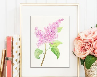 Watercolor Painting Pink Lilac printable, digital print for Instant Download, printable pink flower