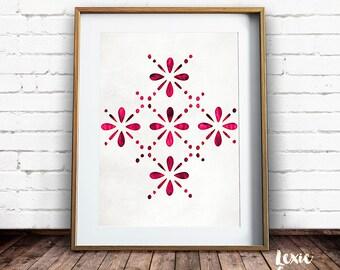 Lace Design, Pink Pattern, Scandinavian Design, Pink Print, Floral Pattern, Scandinavian, Printable Wall Art, Modern Wall Art