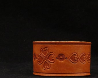 Leather Bracelet Cuff Wristband Honey With Stamped Tooled Heart Pattern Gift For Her