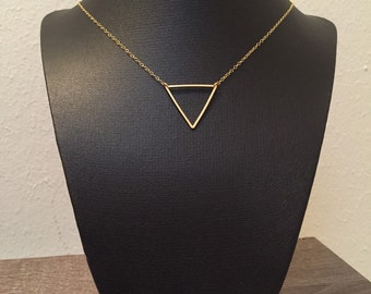 Gold Triangle Necklace, Geometric Necklace, Gold Necklace, Gold Geometric Triangle Necklace, Gifts for Bridesmaids