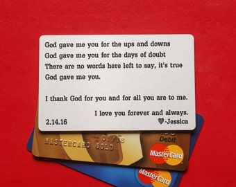 Gift for him, anniversary Wallet Card, Personalized Wallet insert Card, Silver aluminum Metal wallet card,  Personalized Wallet Card,