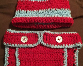 Diaper cover and Beanie Set