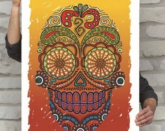 Calavera Poster | Sugar Skull Print | Day of the Dead