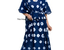 Shibori Indigo Dress Kaftan, Plus Size Caftan, Long Dress, Lounge Wear, Maxi, Indian Caftan, Beach Cover Up, Summer Dress, Cotton Gown