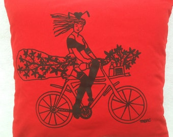 Pin Up Girl Riding Her Bike Silk-screen Pillow. Original Hand Drawn Hand Silk-screen Pin Up Girl Riding Her Bike From Up-cycled Cotton