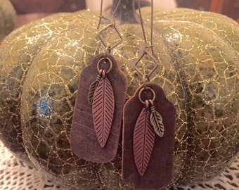 Bohemian Leather and Feather Earrings, Leather Earrings, Feather Dangles, Bohemian Earrings, Boho Earrings, Statement Earrings, Mixed Metal