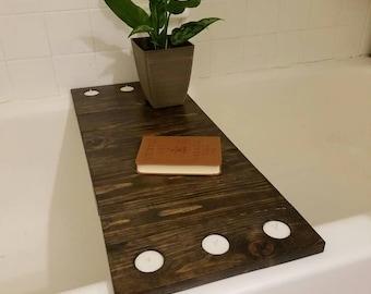 Rustic Bath Tray. Bath Caddy. Reclaimed Wood Bathtub Tray With Wine Glass Holder. Tea Candle Bath Tray. Ottoman Tray. Wine Bath Tray