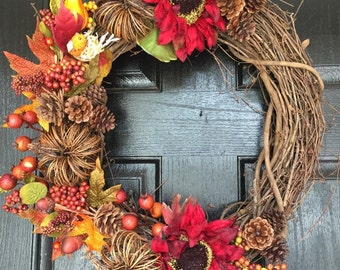 Fall wreath, fall decor, wreath for fall