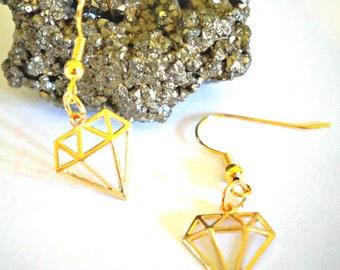 Geometric Gold Diamond Earrings, diamond earrings, geometric jewellery, geometric diamond accessories, gold coloured earrings, gold diamond