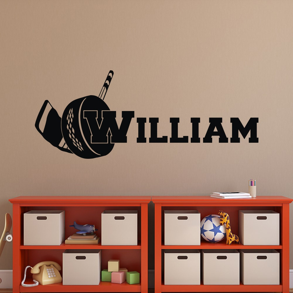 Hockey Wall Decal Large Decal Custom Name Decal Boys: Hockey Name Wall Decal Hockey Wall Decal With Personalized