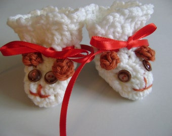Baby Booties crocheted as puppies