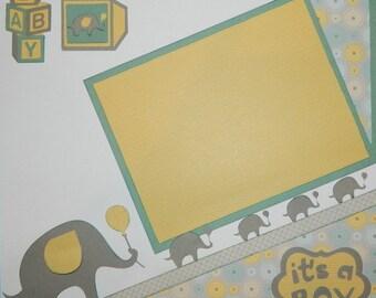 Baby Boy Handmade Scrapbook Layout,