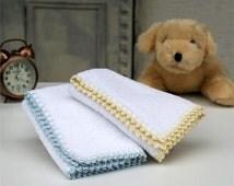 White Baby Towel,Blue Crochet,Cream Crochet,100% Cotton,Baby room,Set of 2
