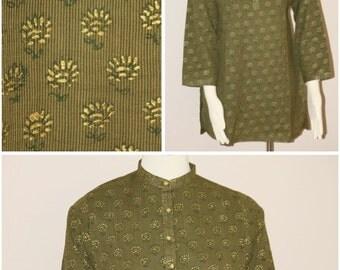 Striped Green, Block Printed Cotton Shirt/Kurti Small size