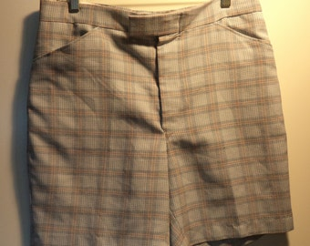70's punk hipster grandpa old man polyester plaid hippie shorts SALE// Men's size 35 W