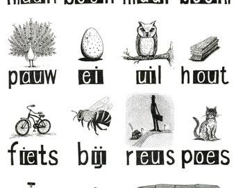 A3 Poster - Leren Lezen - Dubbele Letters