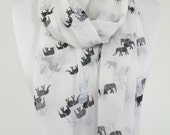 Elephant Scarf White Scarf Shawl Boho Elephant Print Scarf Animal Scarf Infinity Scarf Summer Fall Women Accessories Christmas Gift For Her