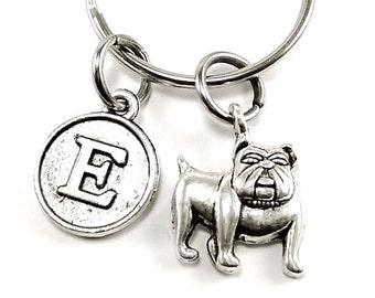 Bulldog keyring, keychain, bag charm, purse charm, monogram personalized item No.136