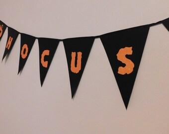 Hocus Pocus Halloween Banner - Black, Orange Glitter with Pumpkins & Black Cats - Halloween Party Decor