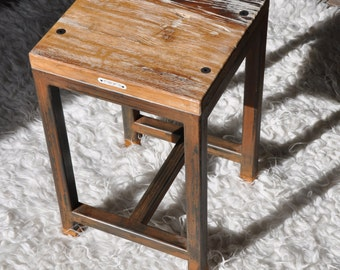 French oak and metal stool