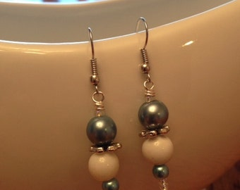 Glass Bead Earrings - Stormy Blue and White